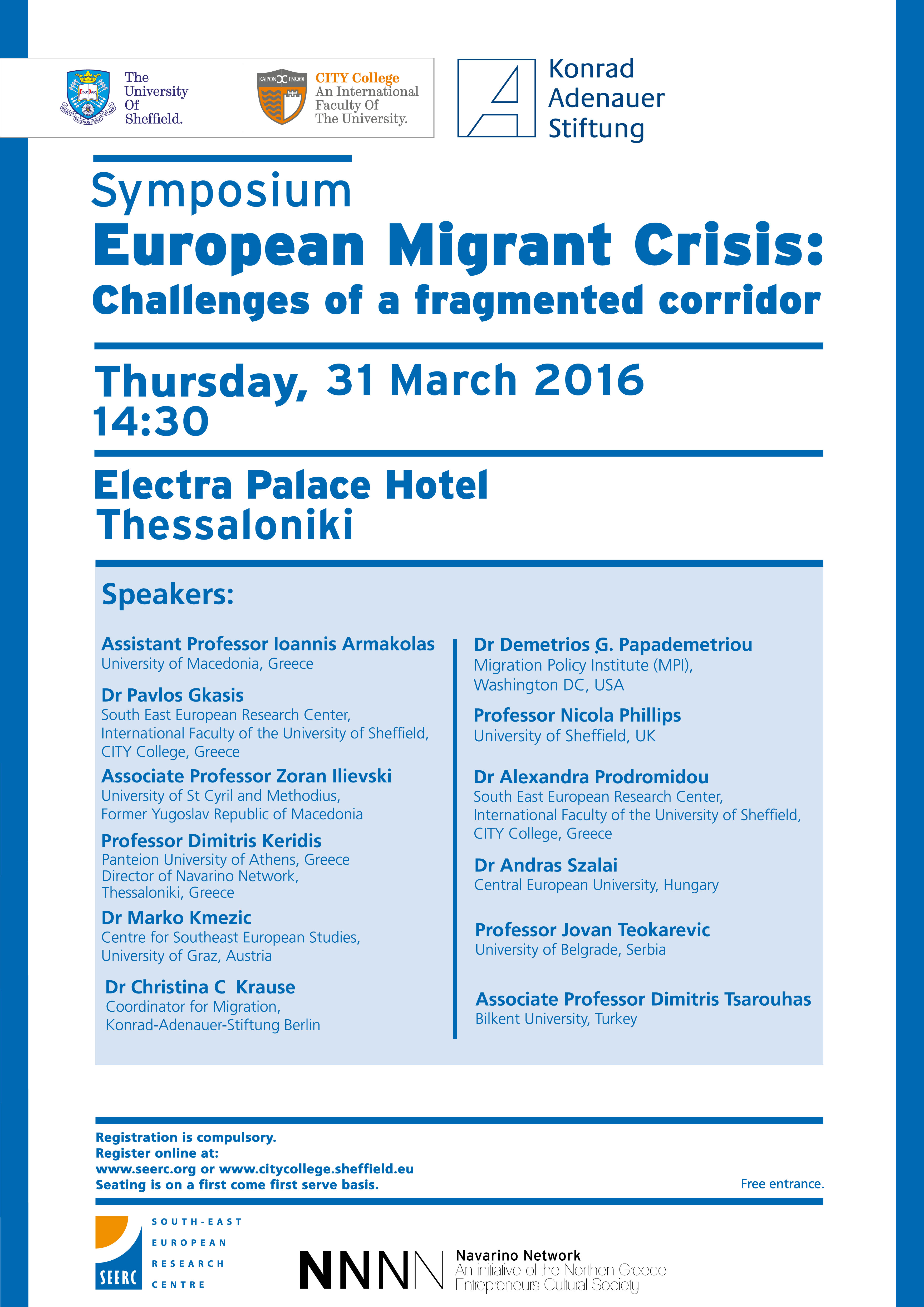 Symposium: European Migrant Crisis: Challenges of a fragmented corridor (31 March 2016)