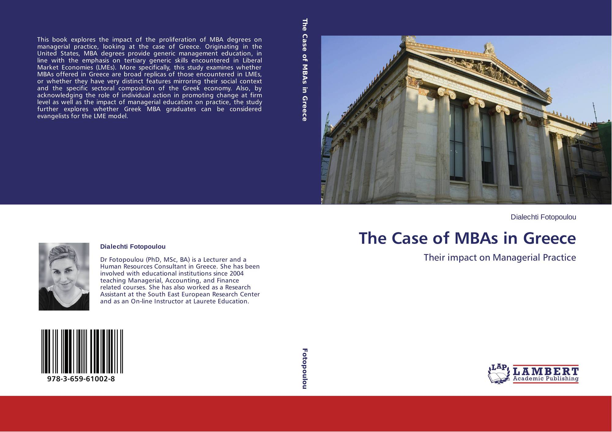 New Book by SEERC's PhD Graduate Dialechti Fotopoulou: The Case of MBAs in Greece: Their Impact on Managerial Practice
